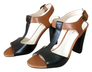 Wythe NY Wooden Chunky Multi-color Bi-color camel and black Sandals