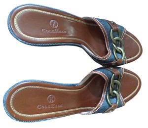 Cole Haan Denim with leather trim and brass Wedges