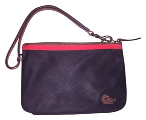 Dooney & Bourke Leather Nylon Wristlet in black and purple