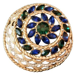 Other Rare 1950s Vintage Sapphire Emerald and Ice Crystal Rhinestone Brooch