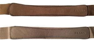 Prada Two Prada Ribbon belts canvas suede beige and brown 1C 1509