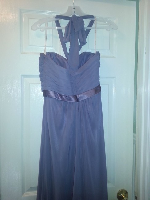 Bari Jay Bridemaid Chiffon Halter Gown Lilac Prom Dress