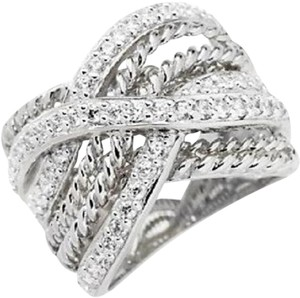 Other .7ct Absolute Simulated Diamond Roped and Pave' Crisscross Band Ring - Size 6