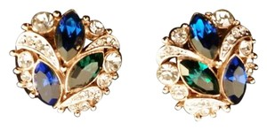 Other 1950s Vintage Sapphire Emerald and Ice Crystal Rhinestone Earrings