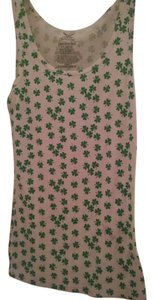 Faded Glory Top White w/ Green Clovers