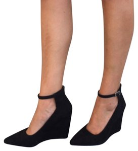 BCBG Paris Black Suede Wedges