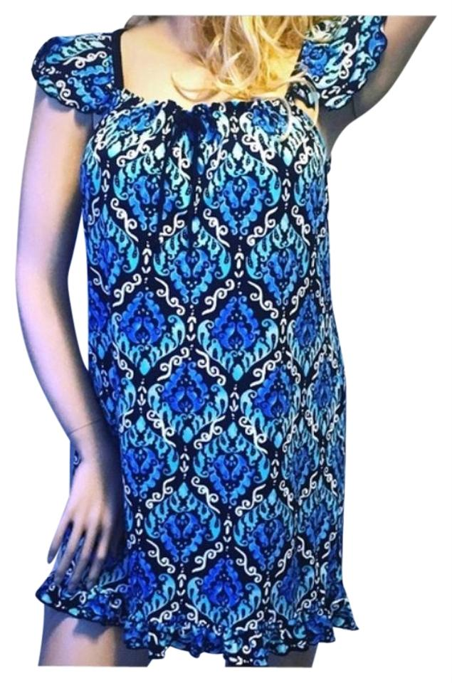 5f1673911c5c Teal Blue Black White Paisley Summer Short Casual Dress. Size  6 (S)  Length  Above Knee