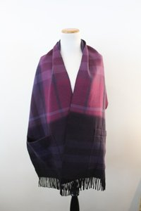 Burberry Burberry Purple Plaid Wool Scarf / Wrap with Pockets