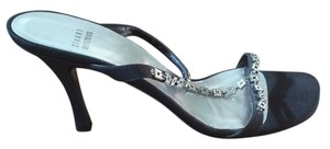 Stuart Weitzman black satin with rhinestones Formal