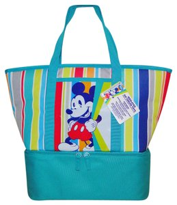 Disney Mouse Beach Tote Canvas Insulated Multi Color Beach Bag