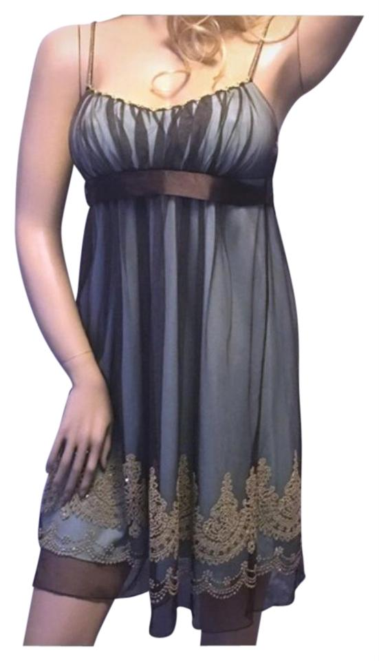 Sage Green Brown Gold Sequined Semi Club Knee Length Formal Dress