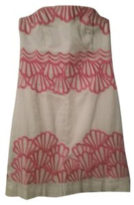 Lilly Pulitzer short dress Pink White Strapless Embroidered Summer Night Out on Tradesy