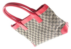 Gucci Tote in Black and gray monogram/ red leather