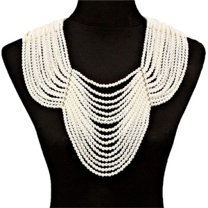 Other MultiStrands Pearl Beads Gold Chain Draped Bib Necklace Backdrop Chain