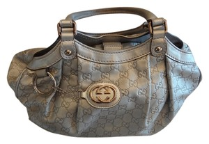 Gucci Sukey Leather Tote in Silver