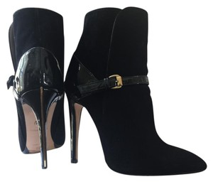 Emilio Pucci Suede Ankle Boot Black and Gold Boots