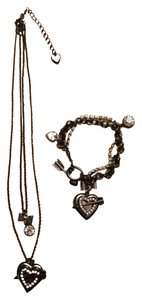Betsey Johnson Necklace and Bracelet Set - Heart Locket Multistrand with Rhinestones
