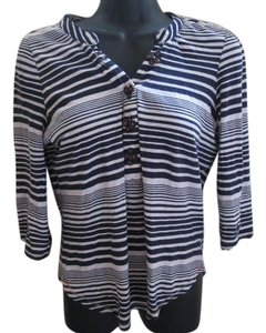 Anthropologie Henley Striped Nautical Knit Top Navy & White