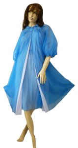 ATREMIS VINTAGE ARTEMIS ROYAL BLUE SHEER NYLON EMBROIDERED PEIGNOIR AND GOWN SET-SMALL