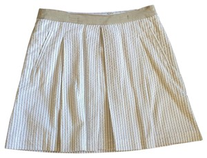 Banana Republic Cotton Seersucker Stripe Skirt Beige/White