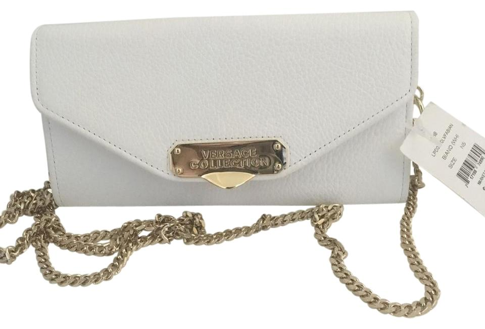 87817d6a24f6 Versace Collection Wallet On A Chain White Leather Clutch - Tradesy