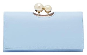 Ted Baker New Ted Baker Powder Blue Leather Crystal Bobble Matinee Wallet