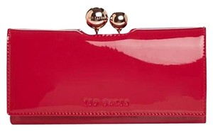 Ted Baker New Ted Baker Fuchsia Patent Leather Odd Bobble Continental Wallet