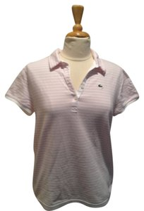 Lacoste Striped T Shirt Pink and White