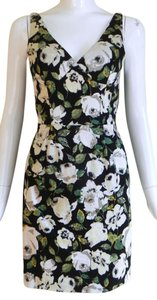 bebe short dress Black and White Floral Cotton Sleeveless on Tradesy