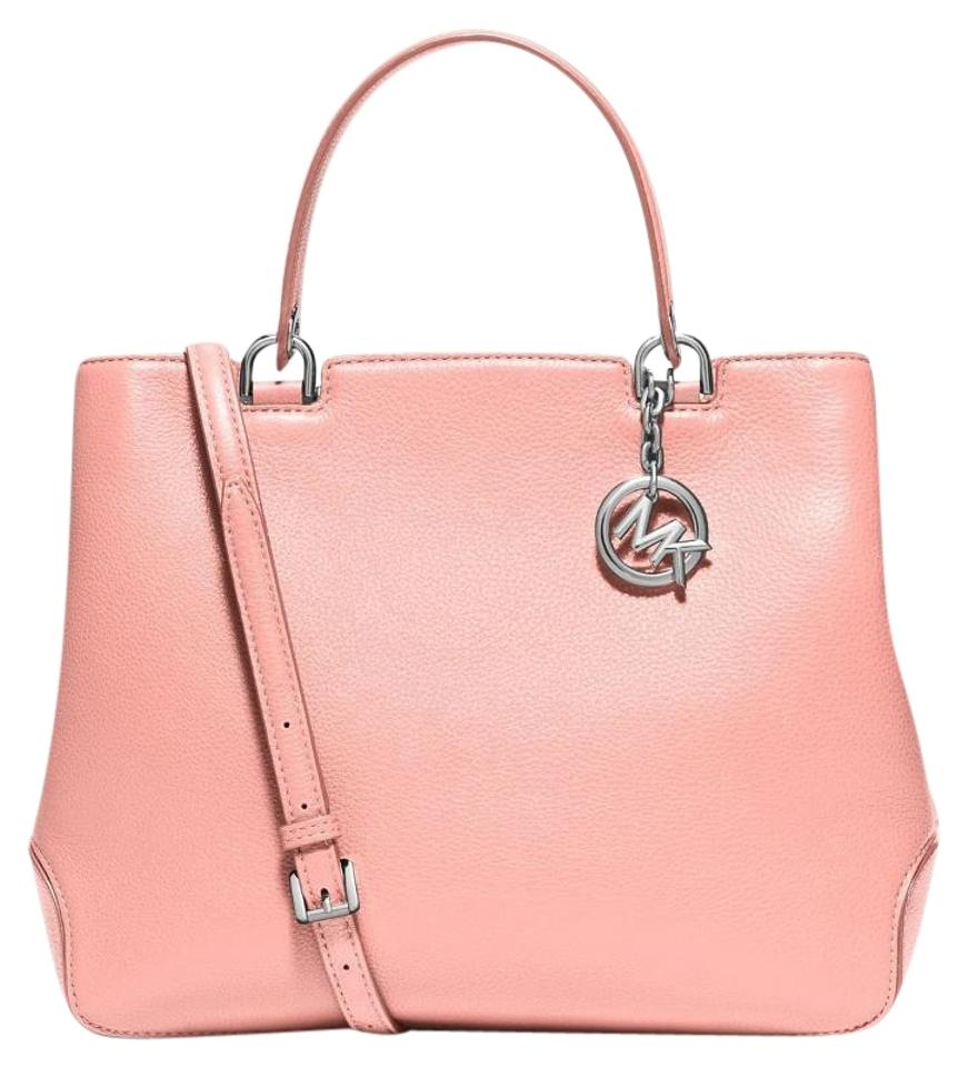 9d34fd00da64e8 Michael Kors Anabelle Large Pebbled Leather Tote Satchel in Pale Pink Image  0 ...