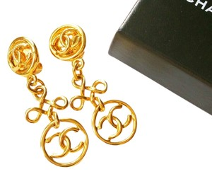 Chanel Authentic Chanel 18K Gold Plated CC Dangle Tier Clip on Earrings Original Box
