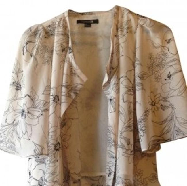 Preload https://img-static.tradesy.com/item/172599/forever-21-beige-with-black-detail-dressy-work-attire-lightweight-blouse-ponchocape-size-4-s-0-0-650-650.jpg