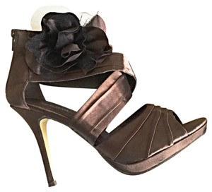 Brown Satin Special Occasion Heels Brown Platforms