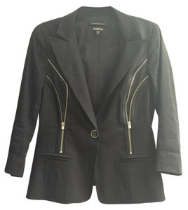 bebe Zipper Detail Linen Black Blazer