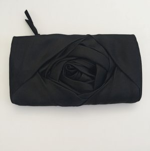 Marchesa Rose Satin Evening black Clutch