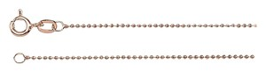 LoveBrightJewelry Solid Bead Chain Necklace 14K Rose Gold 1mm -18