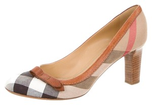 Burberry Round Toe Nova Check Plaid Monogram Leather Brown, Beige, Black Pumps