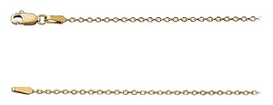 "LoveBrightJewelry 1.4mm 14K Yellow Gold Diamond-Cut Cable Chain Necklace -16"" Chain"