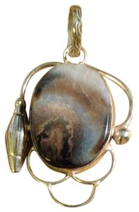 Vintage 1970s Hand Crafted Picture Jasper Silver Setting Pendant Made In Wyoming