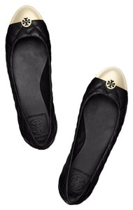 Tory Burch Flat Quilted Black and gold Flats