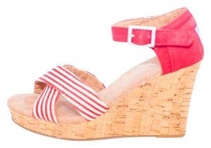 TOMS Cork Red White Stripes Wedges
