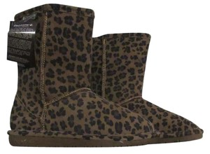 Bearpaw Sheepskin Suede Short Boot Brown / Black Leopard Print Boots