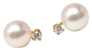 Tiffany & Co. Tiffany & Co 18K Yellow Gold Pearl Diamond Stud Earrings w/box