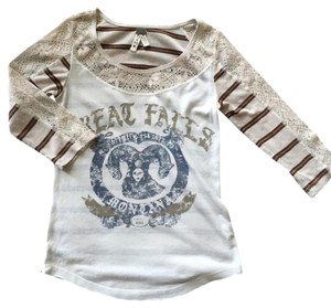 Free People Top Cream, tan and brown