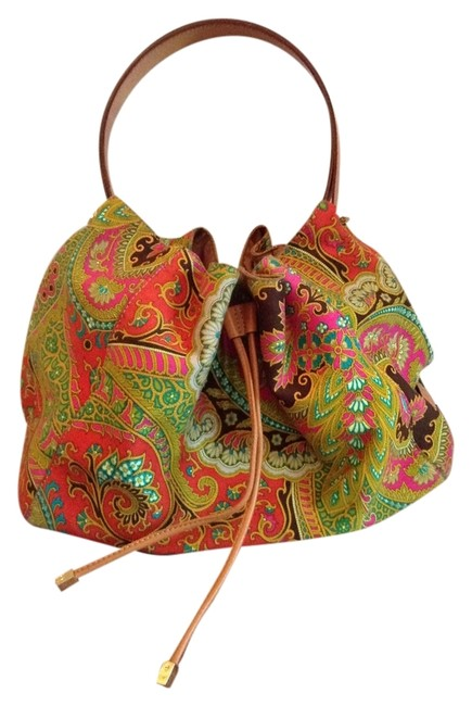 Item - Orange Brown Green Mulit Cotton Hobo Bag