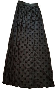 H&M Maxi Polka Dot Maxi Skirt Black