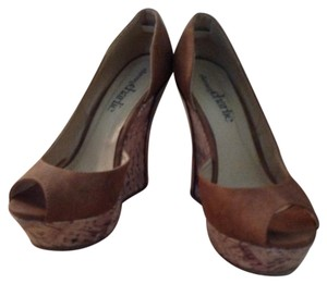 Charming Charlie Cognac Canvas Platforms