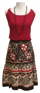 Neiman Marcus Skirt Brown, Red, White