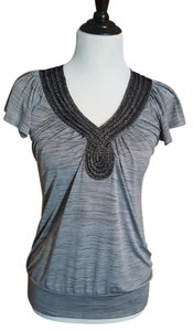 Studio Y Stretchy Banded Bottom V-neck Flutter Sleeves Shirt Top space dye gray with embellishment