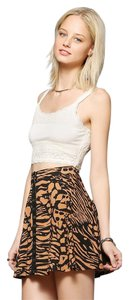 Urban Outfitters Mini Leopard Snap Animal Print Mini Skirt Brown and Black